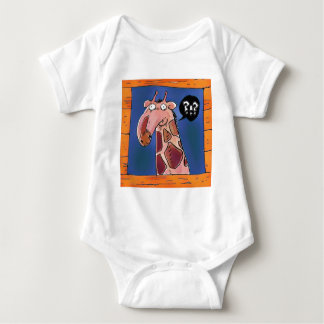 curious funny giraffe looking from window cartoon baby bodysuit