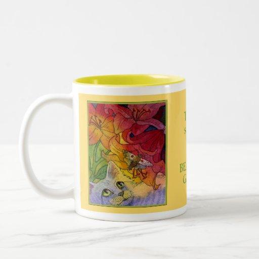 Curious Garden Cat and Moth Mugs