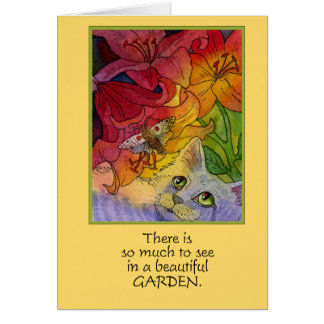Curious Garden Cat and Moth Notecard