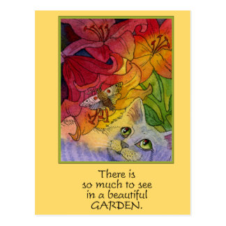 Curious Garden Cat Postcard