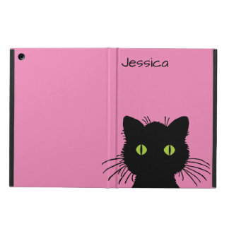 Curious Green-Eyed Black Cat Personalized Name iPad Air Covers