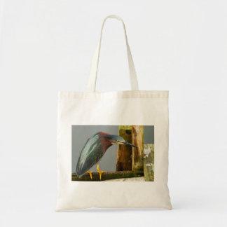 Curious Green Heron Budget Tote Bay