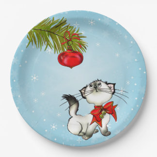 Curious Kitty Cat In A Red Christmas Bow 9 Inch Paper Plate