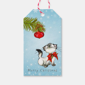 Curious Kitty Cat In A Red Christmas Bow Gift Tags