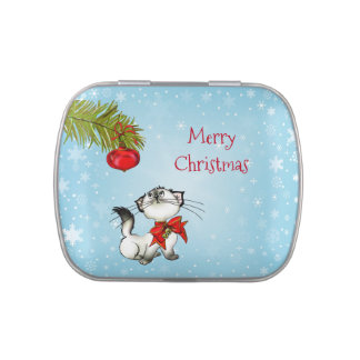 Curious Kitty Cat In A Red Christmas Bow Jelly Belly Tins
