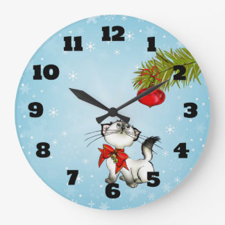 Curious Kitty Cat In A Red Christmas Bow Wallclocks