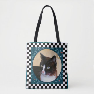 Curious Kitty-Cat Watching Ladybugs Tote Bag