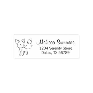Curious Little Fox Address Self-inking Stamp