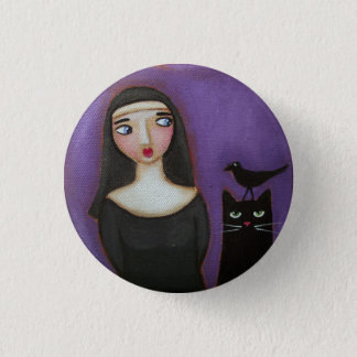 Curious Nun and Cat 3 Cm Round Badge