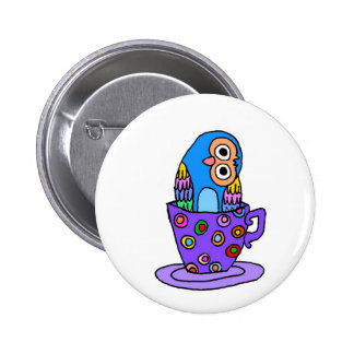 Curious Owl in a Teacup Pin