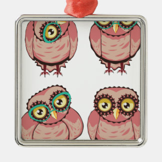 Curious Owl in Teal Glasses Metal Ornament