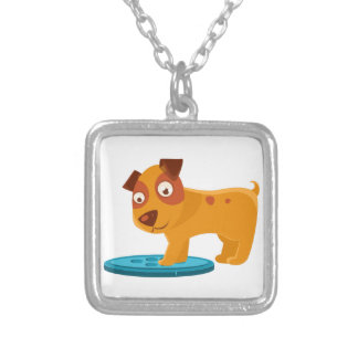 Curious Puppy Stepping On Trapdoor Silver Plated Necklace