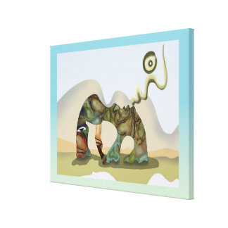 Curious surreal grazing creature gallery wrapped canvas