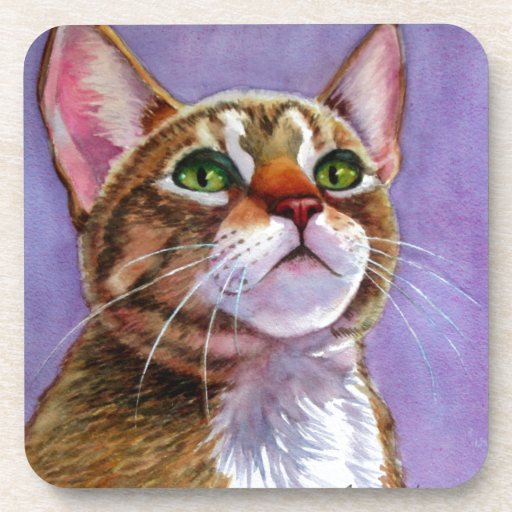 Curious Tabby Cat in Watercolor Drink Coaster