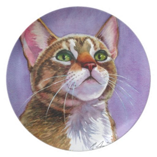 Curious Tabby Cat in Watercolor Dinner Plate