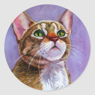 Curious Tabby Cat in Watercolor Round Sticker