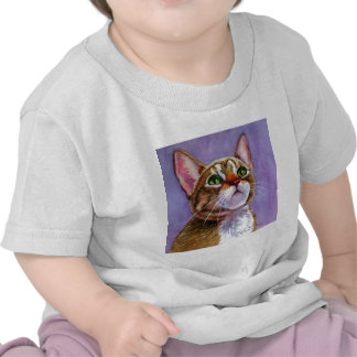 Curious Tabby Cat in Watercolor Tshirt