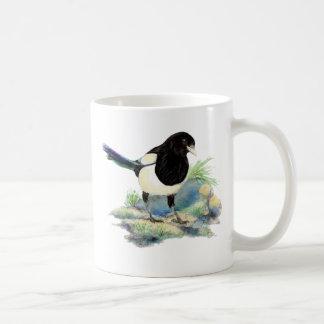 Curious Watercolor Magpie Bird Art Basic White Mug