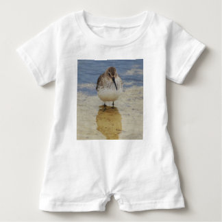 Curious young shorebird exploring baby bodysuit