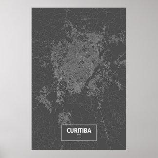 Curitiba, Brazil (white on black) Poster