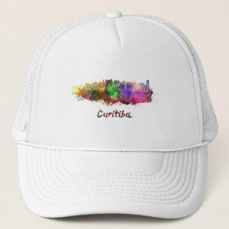 Curitiba skyline in watercolor trucker hat