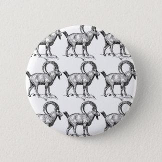 curl horn ibex 6 cm round badge