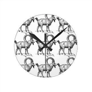 curl horn ibex round clock