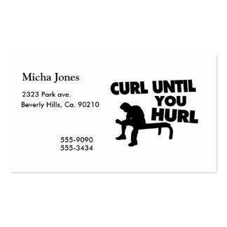 Curl Until You Hurl Pack Of Standard Business Cards