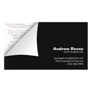 Curled Corner with Program Coding - Java Business Card Templates