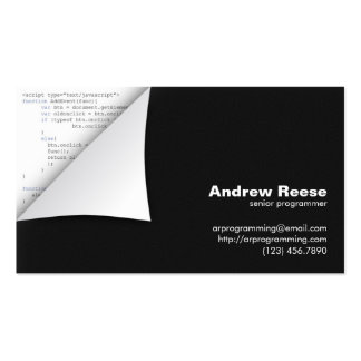 Curled Corner with Program Coding - Javascript Business Cards