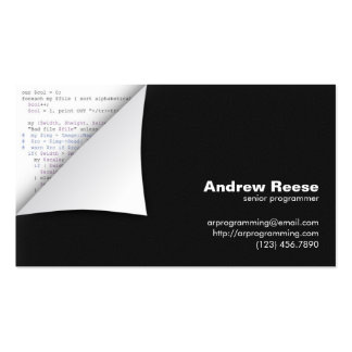 Curled Corner with Program Coding - Perl Pack Of Standard Business Cards