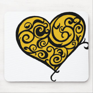 Curled Gold Heart Love Postage Stamp Mouse Pad