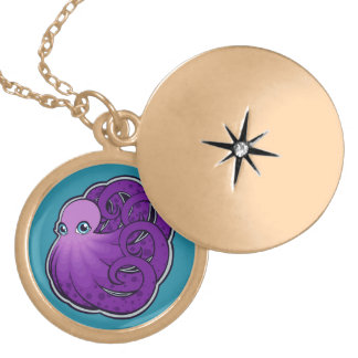 Curled Purple Spotted Octopus Ink Drawing Design Gold Plated Necklace