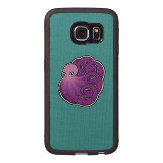 Curled Purple Spotted Octopus Ink Drawing Design Wood Phone Case