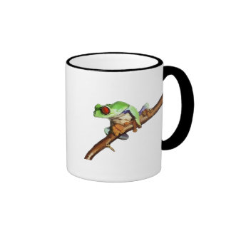 Curled Tree Frog Riding a Branch Coffee Mugs