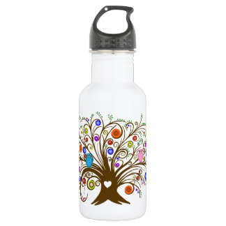 Curled Tree With Owls 532 Ml Water Bottle