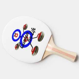 Curler for Life Curling Cartoon Ping Pong Paddle
