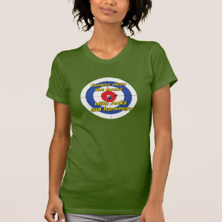 """""""Curlers clean the house"""" T-shirt - (Blue)"""