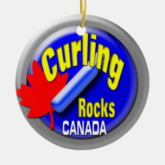 Curling Canada Ceramic Ornament