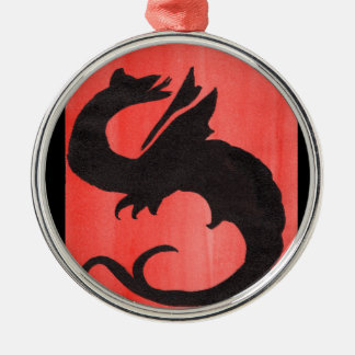 Curling Dragon Metal Ornament