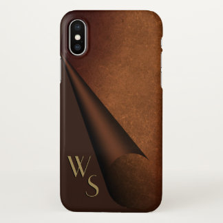 Curling Edge Brown Leather Look Monogram iPhone X Case