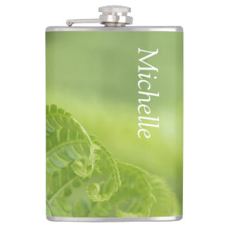 Curling Fern Leaves, Greenery, Blurred Background Hip Flask