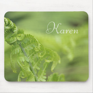 Curling Fern Leaves, Greenery, Blurred Background Mouse Pad