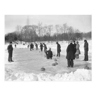 Curling in Central Park NYC Postcard