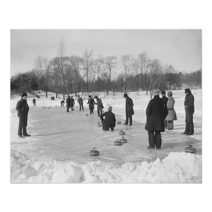 Curling in Central Park NYC Poster