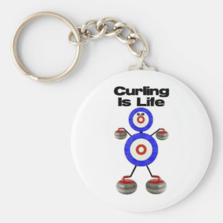Curling is Life Basic Round Button Key Ring