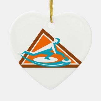 Curling Player Sliding Stone Triangle Icon Ceramic Ornament
