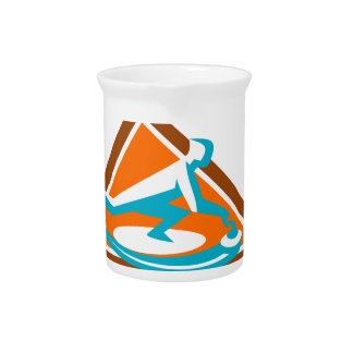 Curling Player Sliding Stone Triangle Icon Pitcher