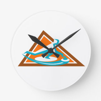 Curling Player Sliding Stone Triangle Icon Round Clock