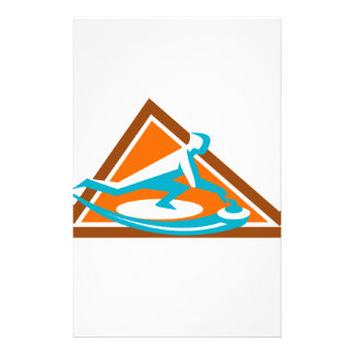 Curling Player Sliding Stone Triangle Icon Stationery